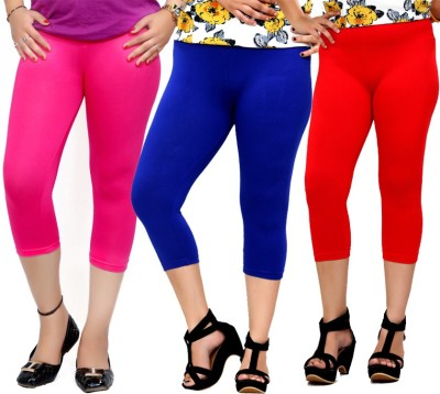 By The Way Fashion Women,s Pink, Blue, Red Capri