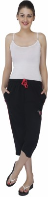 Red Ring Womens Black Capri