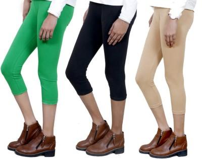IndiStar Women's Green, Black, Beige Capri