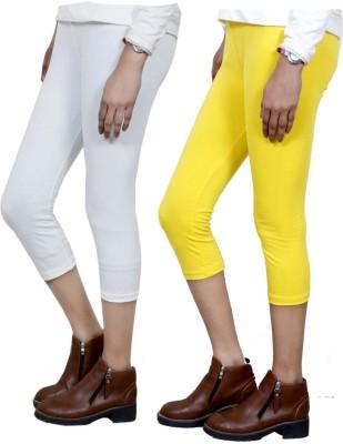 IndiStar Women's White, Yellow Capri