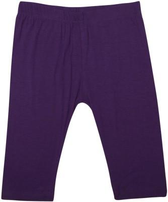 De Moza Viscose Lycra 3/4th Solid 2-3 Yrs Dark Purple Girl's Purple Capri