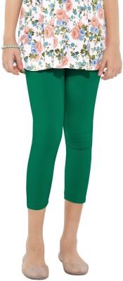 Go Colors Cotton Lycra Blend Girl's Green Capri