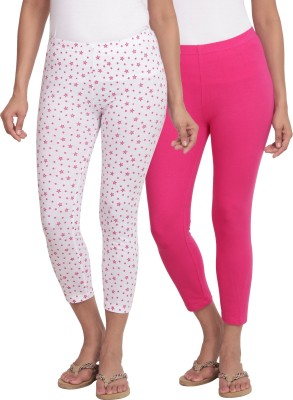 Slumber Jill SlumberJill Pack of 2 Stretch Capris - Star Print on White + Fuchsia Colour Women's Pink, White Capri