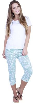 Eshelle Fashion Women,s Green, White Capri