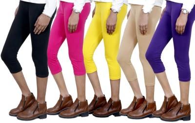 IndiWeaves Women,s Black, Pink, Yellow, Beige, Purple Capri