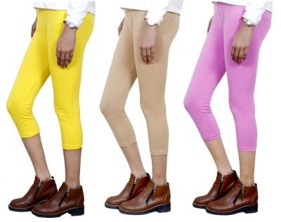 IndiStar Women's Yellow, Beige, Pink Capri