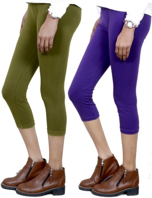 IndiStar Women's Green, Purple Capri