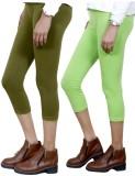 IndiWeaves Women's Green, Green Capri