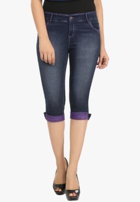 Fashion Cult Women's Dark Blue, Purple Capri
