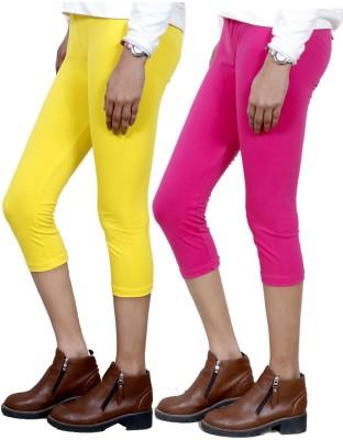 IndiStar Women's Yellow, Pink Capri