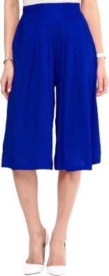 Uptownie Lite Indigo Blue Solid Front Pleated Culottes Women's Dark Blue Capri