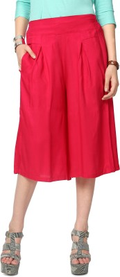 People Red Solid Skirt Women's Red Capri