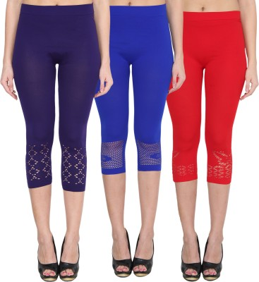 NumBrave Women's Blue, Blue, Red Capri