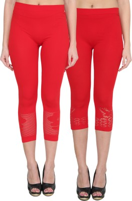 NumBrave Women's Orange, Red Capri