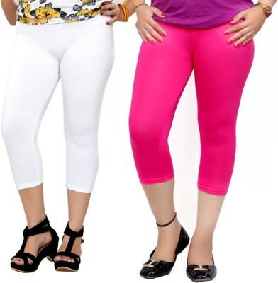 By The Way Fashion Women,s White, Pink Capri
