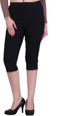 Jewelizer Fashion Women's Black Capri