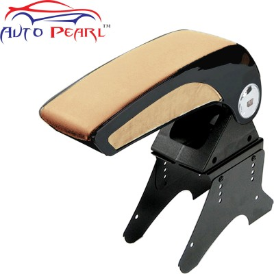 Auto Pearl FCBARM083 - Premium Quality Chrome Beige Console Box Car Armrest Pad Cushion