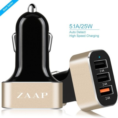 Zaap-ZAAP3UC-216-25W/-2.4A-3-Port-USB-Car-Charger
