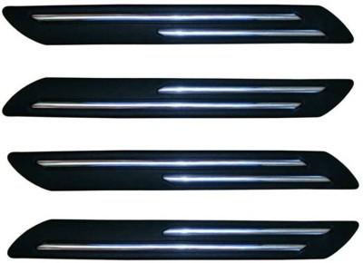 Hi Art Plastic Car Bumper Guard(Black, Silver, Pack of 4, Toyota, Fortuner Old)