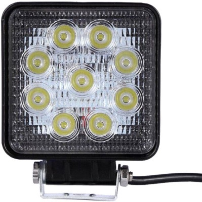 Vheelocityin 9 Led Square Cree Auxillary Car Fog Lamp 27W Set of 2 For Maruti Suzuki Gypsy(White)