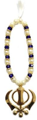 Premang Decors Golden Khanda in Crystal Beads-RoyalBlue Car Hanging Ornament(Pack of 1)