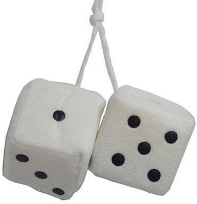bikerZZZclub car dice white colour Car Hanging Ornament