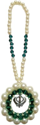 Premang Decors Silver Khanda encircled in Pearls Car Hanging Ornament(Pack of 1)