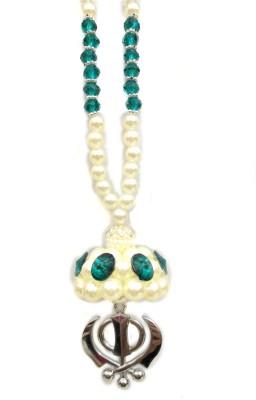 Premang Decors Silver Khanda under Pearl Chatar(Green) Car Hanging Ornament(Pack of 1)