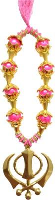 Premang Decors Golden Khanda in coloured pearls Car Hanging Ornament(Pack of 1)