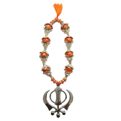 Premang Decors Silver Khanda in Coloured Pearls Car Hanging Ornament