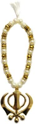 Premang Decors Golden Khanda in Crystal Beads- Golden Car Hanging Ornament(Pack of 1)