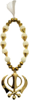 Premang Decors Golden Khanda in angoori Pearls Car Hanging Ornament