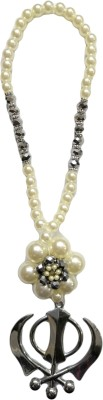 Premang Decors Silver Khanda in Pearl Flower(Silver) Car Hanging Ornament(Pack of 1)