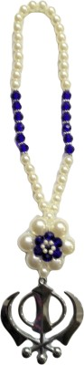 Premang Decors Silver Khanda in Pearl Flower(Royal Blue) Car Hanging Ornament
