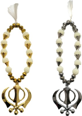 Premang Decors Golden & Silver Khanda in angoori Pearls Car Hanging Ornament