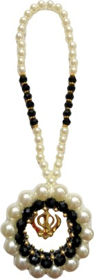 Premang Decors Golden Khanda encircled in Pearls(Black) Car Hanging Ornament
