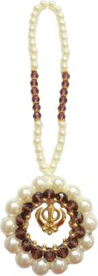 Premang Decors Golden Khanda encircled in Pearls(Wine) Car Hanging Ornament(Pack of 1)