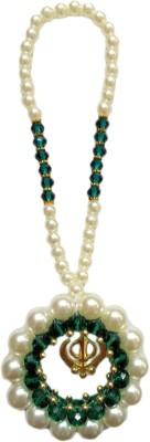 Premang Decors Golden Khanda encircled in pearls Car Hanging Ornament(Pack of 1)