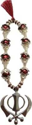 Premang Decors Silver Khanda in Maroon Pearls Car Hanging Ornament(Pack of 1)