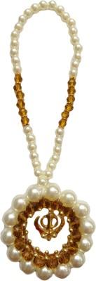 Premang Decors Golden Khanda encircled in Pearls(Camel) Car Hanging Ornament(Pack of 1)