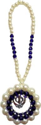 Premang Decors Silver Khanda encircled in Pearls(Royal Blue) Car Hanging Ornament(Pack of 1)