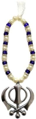 Premang Decors Silver Khanda in Crystal Beads(Royal Blue) Car Hanging Ornament(Pack of 1)