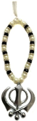 Premang Decors Silver Khanda in Crystal Beads(Black) Car Hanging Ornament(Pack of 1)