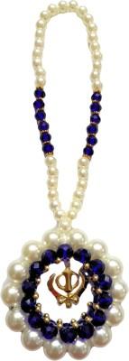 Premang Decors Golden Khanda encircled in Pearls(Royal Blue) Car Hanging Ornament(Pack of 1)