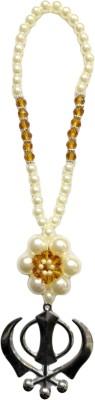 Premang Decors Silver Khanda in Pearl Flower(Camel) Car Hanging Ornament(Pack of 1)