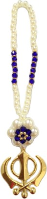 Premang Decors Golden Khanda in Pearl Flower(Royal Blue) Car Hanging Ornament(Pack of 1)