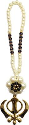 Premang Decors Golden Khanda in Pearl Flower(Purple) Car Hanging Ornament(Pack of 1)
