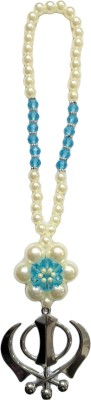 Premang Decors Silver Khanda in Pearl Flower(Sky Blue) Car Hanging Ornament