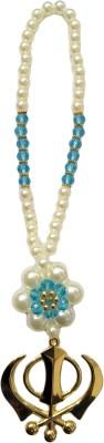 Premang Decors Golden Khanda in Pearl Flower(Sky Blue) Car Hanging Ornament(Pack of 1)