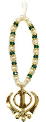 Premang Decors Golden Khanda in Crystal Beads - Green Car Hanging Ornament(Pack of 1)